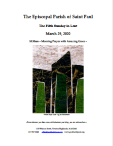 Bulletin for March 29th, 2020